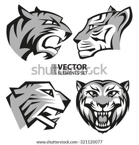 black and grey tiger head logos