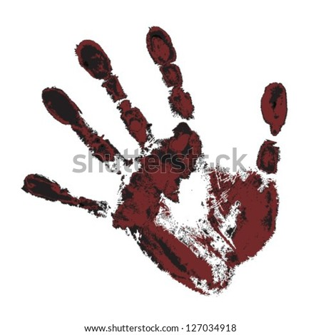 black and maroon handprint on a white background