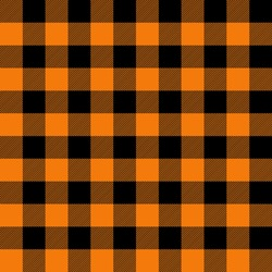 Black and orange gingham pattern. Seamless vector plaid design suitable for fashion, home decor and stationary. Perfect for Halloween and thanksgiving.