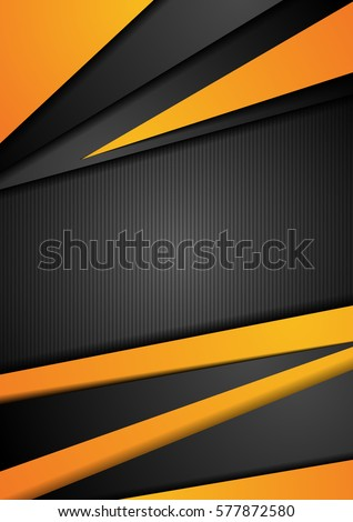 stock-vector-black-and-orange-tech-corporate-background-abstract-vector-graphic-flyer-design