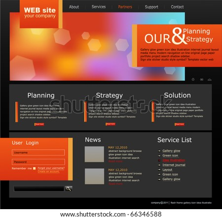black and orange Vector Web site for business