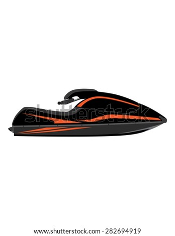 Black and orange water scooter vector icon isolated, extreme sport, water sport, water transport