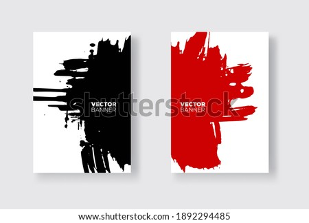 Black and red abstract design set. Ink paint on brochure, Monochrome element isolated on white. Grunge banner paints. Simple composition. Liquid ink. Background for banner, card, poster, web design.