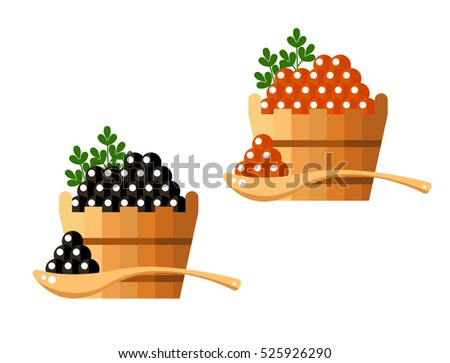 black and red caviar in a