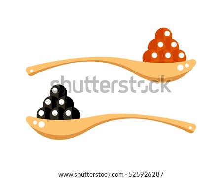 black and red caviar in wooden