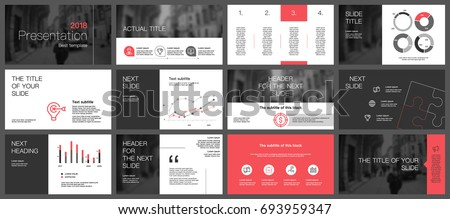 Black and red details and elements on a white background. This template is the best as a business presentation, corporate report, used in marketing and advertising, the annual report, flyer and banner