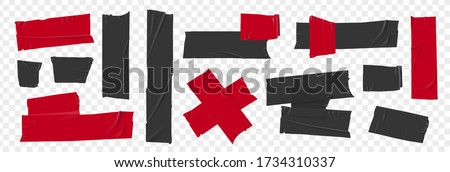Black and red duct tape set. Torn tape. Vector realistic wrinkled stripes and cross glued sticky adhesive masking tape pieces. Isolated on transparent background Foto stock ©