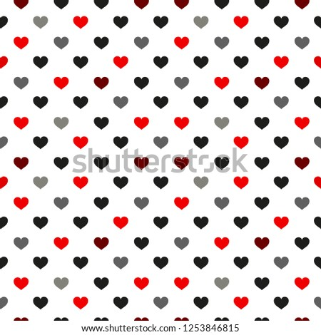 Black and red Heart seamless pattern. Colorful hearts. Packaging design for gift wrap. Abstract geometric modern background. Vector illustration. Art deco style.