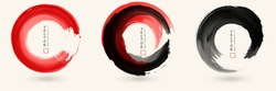 Black and red ink round stroke on white background set. Japanese style. Abstract vector illustration of grunge circle stains