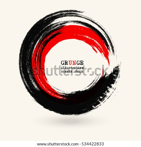 black and red ink round stroke
