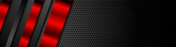 Black and red metal stripes on dark perforated background. Vector hi-tech geometric design