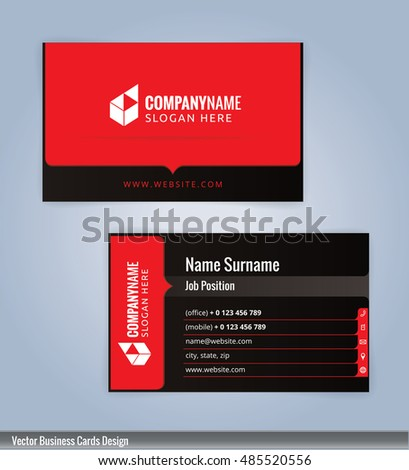 Black and red modern business card template, Illustration Vector 10
