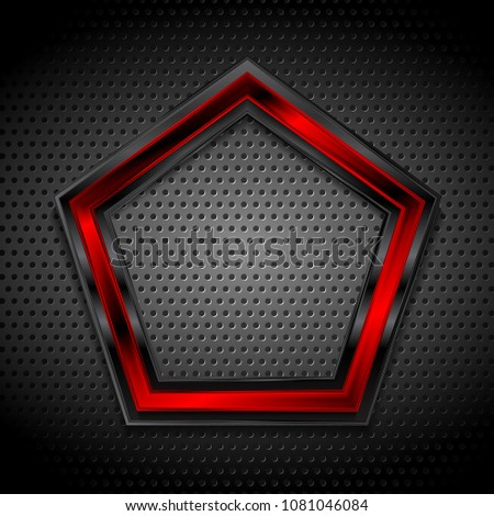 Black and red pentagon shape on perforated metallic texture. Vector graphic design