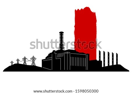 black and red silhouette of