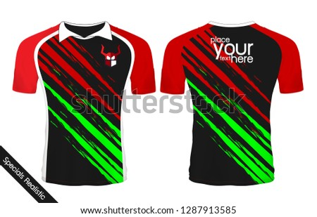 45e46a7e1 Black and Red sport wear protection equipment vector illustration.layout  football sport t-shirt