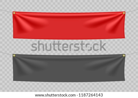 Black and red textile banners with folds #1187264143