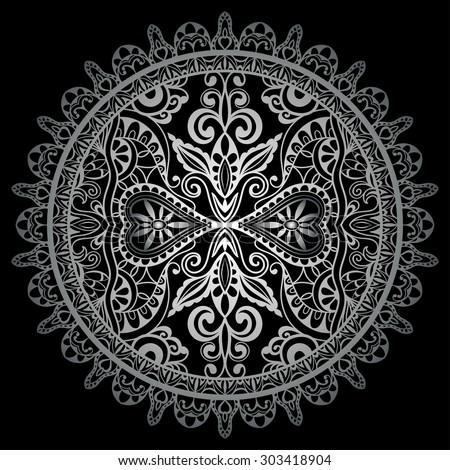 black and silver gray mandala