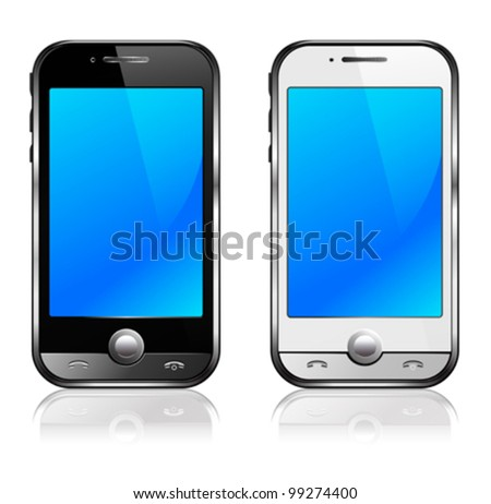 Black and silver mobile phone with reflection - All elements are grouped and on individual layers in the vector file for easy use