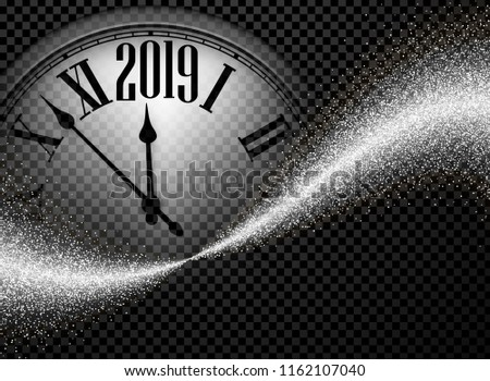 Black and silver shiny 2019 New Year transparent background with round clock. Greeting card template. Vector illustration.