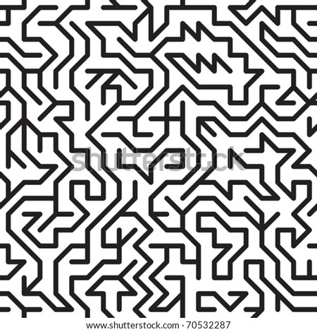 Black-and-white abstract background with complex maze. Seamless pattern for your design. Vector illustration.