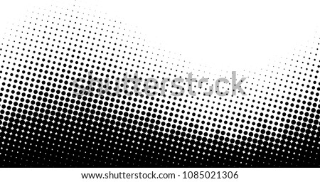 Black and white abstract background with wavy dotted pattern. Halftone effect. Vector illustration.