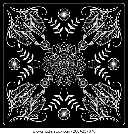 Black and white abstract bandana print with  element henna style. Square pattern design for pillow, carpet, rug. Design for silk neck scarf, kerchief, hanky Stock photo ©