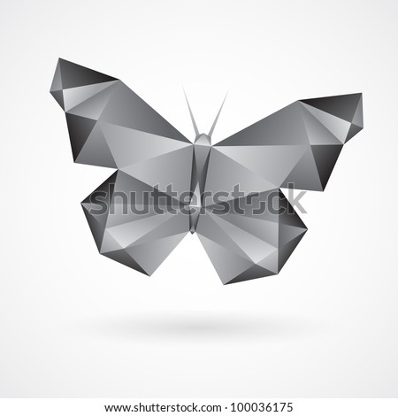Black and white abstract geometric butterfly made from grey gradient triangles. Design element for use in various designs.