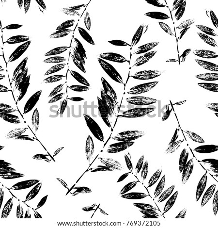 Black and White Abstract leaves silhouette seamless pattern. Hand drawn leaf silhouettes with scribble textures. Natural elements in monochrome colors. Vector grunge design for paper, fabric