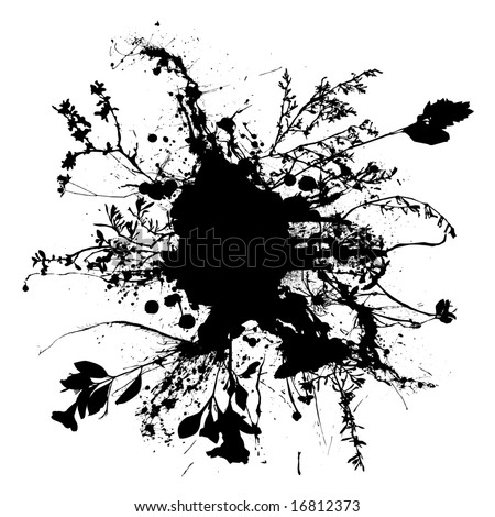Black and white abstract pen and ink floral design