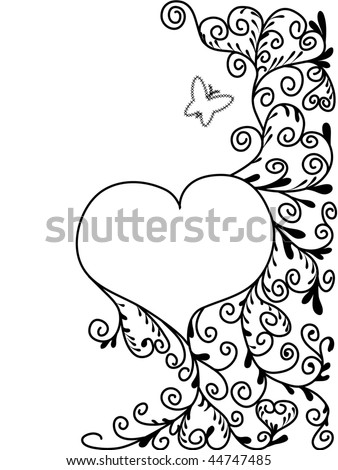 black and white abstract picture to St  Valentines Day with floral elements and heart drowing