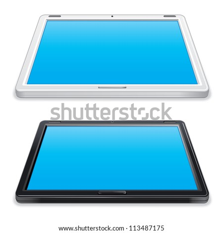 Black and White Abstract Tablet PC. Vector Illustration