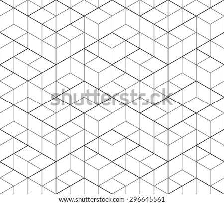 Black and white abstract textured geometric seamless pattern. Vector contrast textile backdrop with cubes and squares. Graphic contemporary futuristic covering.