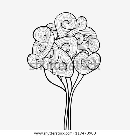 Black and white abstract tree. Hand drawn tree symbol. Tree icon. Waves tree design. Wave theme. Hand drawn design. Design template can be used for stickers, logotypes, web, banners, sign, textile.