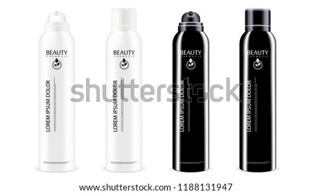 Black and white aerosol spray metal bottles set with or without lid. Deodorant antiperspirant or cosmetic hairspray can template. Vector package illustration isolated on white background.