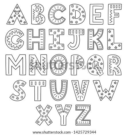 Black and white alphabet. Hand drawn outline ABC. Vector illustration