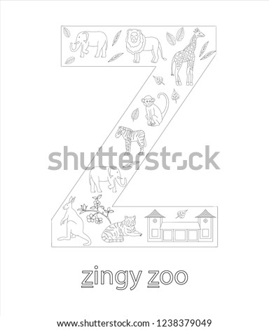 stock vector black and white alphabet letter z phonics flashcard cute letter z for teaching reading with