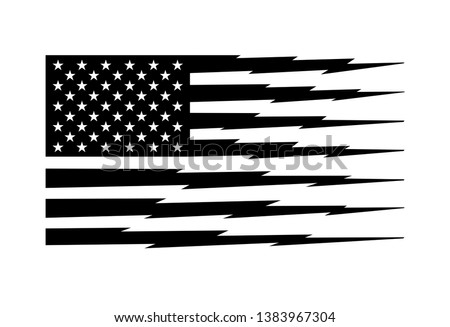 Black and White American Flag Stripes in Lightning Shape