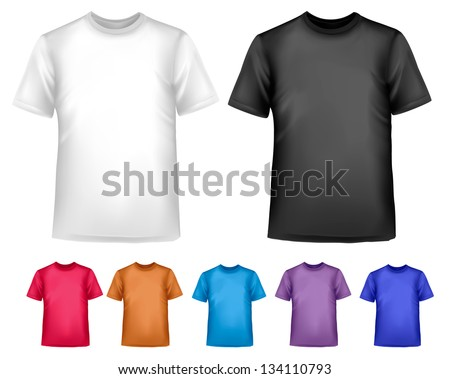 Black and white and color men polo shirts. Design template. Vector illustration.
