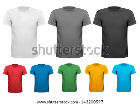 Black and white and color men polo shirts. Design template. Vector illustration Zdjęcia stock ©