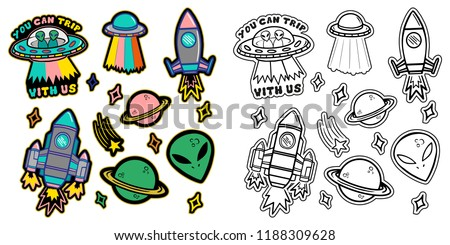 Black and white and colorful line set icons with patches stickers with stars alien UFO spaceships planets. Modern vector style mascot logo trendy print on kids clothes t shirt sweatshirt poster. #1188309628