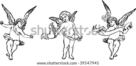 Black And White Angels Trio. Vector Illustration.