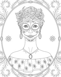 Black and white anti-stress paint. Contour painting. A girl with traditional Katrina makeup for the day of death celebration. For anti-stress books, relax. - Vector graphics