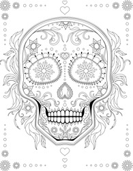 Black and white anti-stress paint. Contour painting. Sugar skull with a traditional Mexican mural to celebrate the day of death. For anti-stress books, relax. - Vector graphics