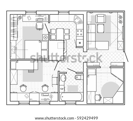 Free floor plan vector download free vector art stock graphics black and white architectural plan of a house layout in top view of the apartment malvernweather Choice Image