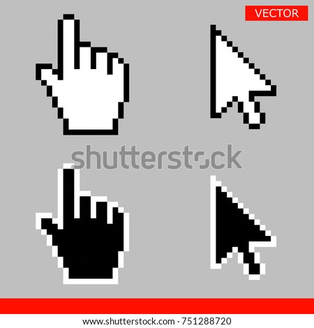 Black and white arrow pixel and pixel mouse hand cursors icon vector illustration set