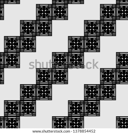 black and white Art Deco pattern in ethnic style Aztec style hipster style