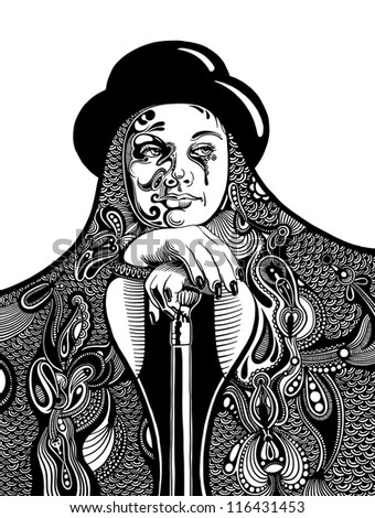 Stock Photo black and white artistic digital drawing of young witch in a hat and with a vintage walking stick