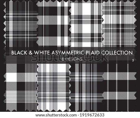 Black and White Asymmetric Plaid seamless pattern collection includes 8 designs for fashion textiles and graphics Zdjęcia stock ©