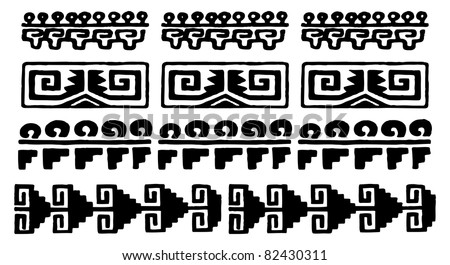 black and white aztec glyphs from mexico