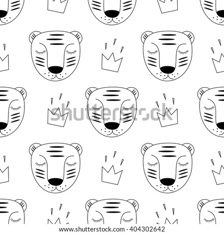 Black And White Baby Tiger With Crown Seamless Pattern Child Drawing Style Wild Animal Background